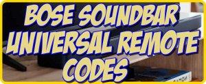 Bose Soundbar Universal Remote codes