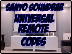 Sanyo Soundbar Universal Remote codes