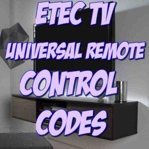 ETec TV Remote Codes